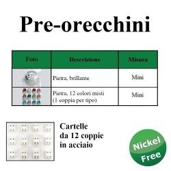 PRE-ORECCHINI ACCIAIO MINI LAMINATI CARTELLA - 12 PZ